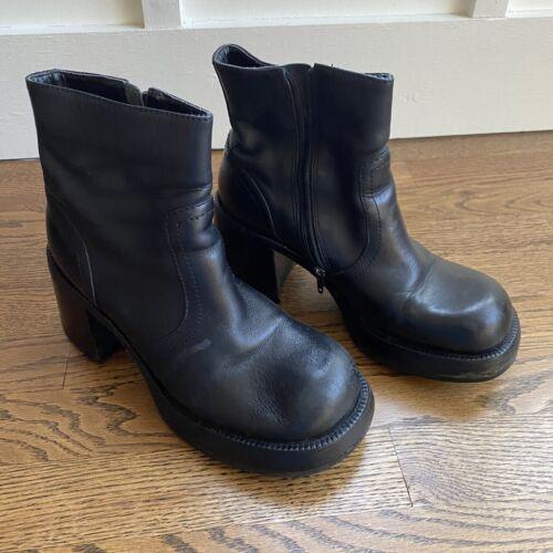 Vtg 90's STEVE MADDEN Rachel Blk Leather Chunky Pl