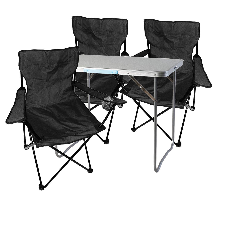 4-tlg. Schwarz Campingmöbel Set, Tisch mit Tragegriff und Stühle mit Tasche