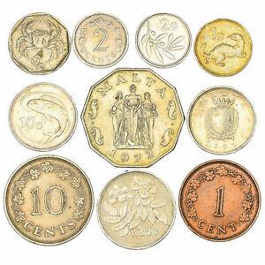 10-MIXED-MALTA-COINS-MALTESE-CENTS-MILS-CIRCULATED-1972-2007-COLLECTIBLE-COINS