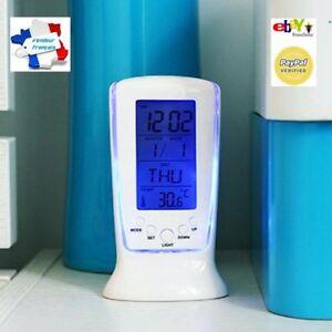 Horloge-Reveil-Thermometre-Lumineux-Alarme-Date-Calendrier-Snooze