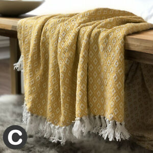 Luxury-100-Cotton-Ochre-Mustard-Yellow-Abstract-Check-Bed-Sofa-Blanket-Throw