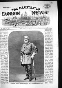 Old-Print-1864-General-Robert-Edmund-Commander-In-Chief-Army-Civil-War-Am-19th