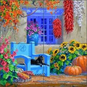 Ceramic-Tile-Mural-Backsplash-Senkarik-Southwest-Courtyard-Floral-Art-MSA187