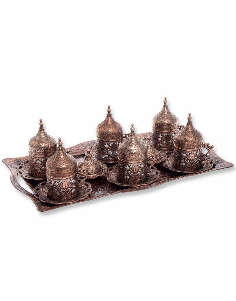 Trmade turc CUIVRE GREC Arabe Café espreso service tasse soucoupe (Set of 6 W