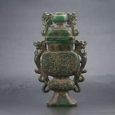 Antique 100% Natural Old Jade Handwork Carved Dragon Incense Burner Censer Rare