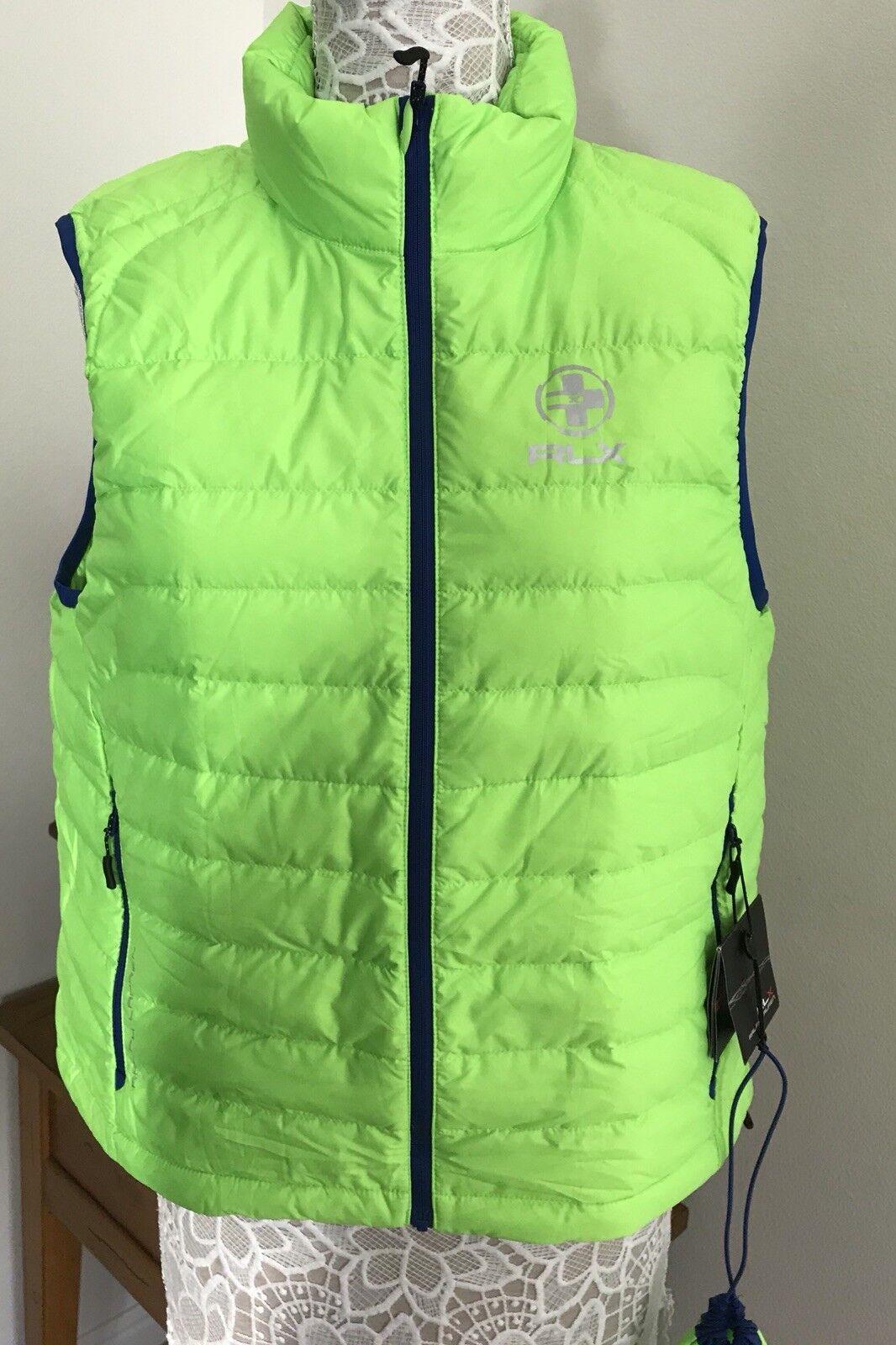 NWT RXL Ralph Lauren Safety Green Down(730) Puffer Womens Vest SZ L