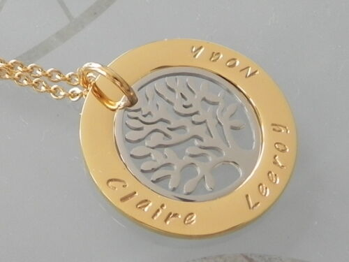 Personalised Hand Stamped Gold IP Plated Steel Any Names family Mothers Pendant