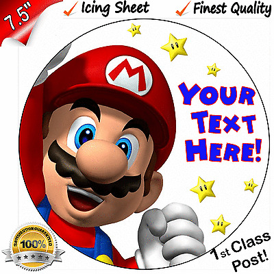 "Super Mario Personalised Edible Icing Cake Topper 7.5"" Round FIRST CLASS POST!"