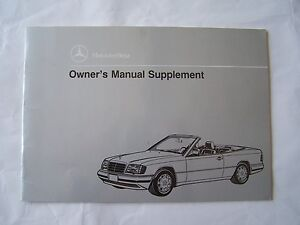 1993 mercedes 300ce cabrio owners manual supplement w124 parts rh m ebay ie mercedes w124 owners workshop manual mercedes w124 owners manual pdf