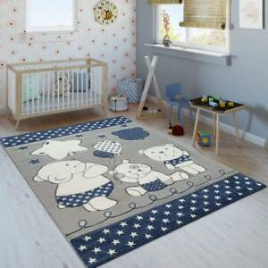 Details about Kids Animal Rug Blue Grey White Childrens Bedroom Mat Baby  Nursery Star Carpets