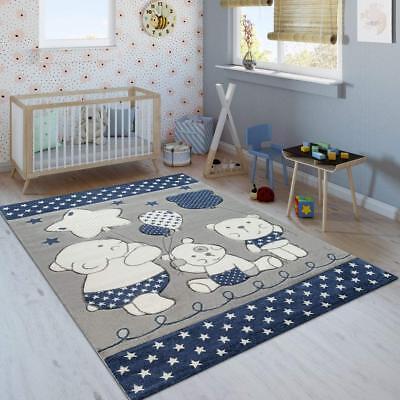 Rug Blue Grey White Childrens Bedroom