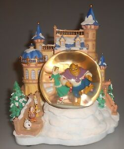 Details About Disney Beauty And The Beast Snowglobe Ice Skating Snow Globe Htf