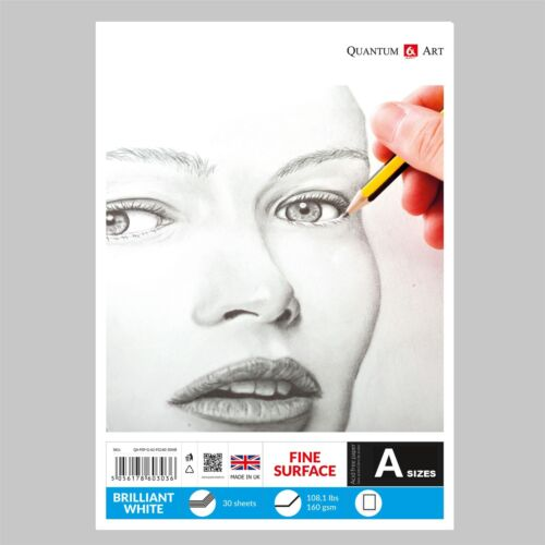 160gsm Sketch Pad Smooth White Drawing Artist Paper GUMMED Book