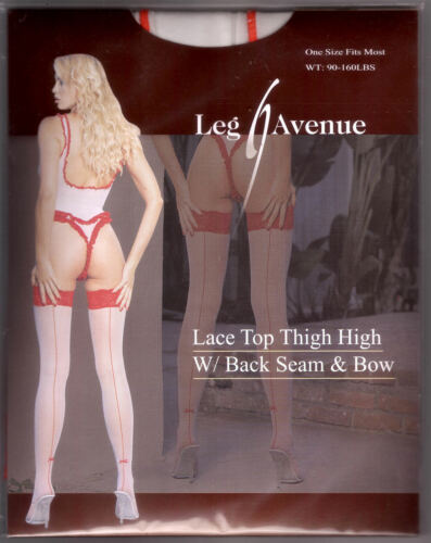 RED LACE BACK SEAM MINI BOW  WHITE SHEER STOCKINGS THIGH HIGH BY LEG AVE.