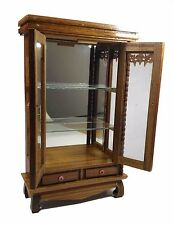 Cabinet Small Storage Wood Thai Furniture Bathroom Curio Glass Teak Shelf Carved