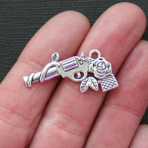 5 Gun Charms Antique Silver Tone Guns and Roses SC7374