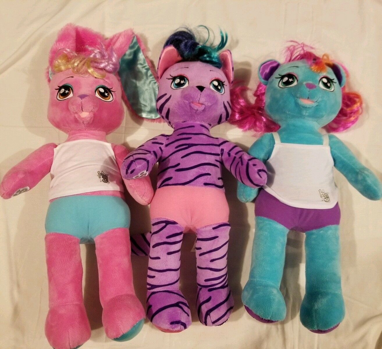 Lot Of 3 Honey Girls HG Build A Bear Workshop BABW Cat Bear And Rabbit