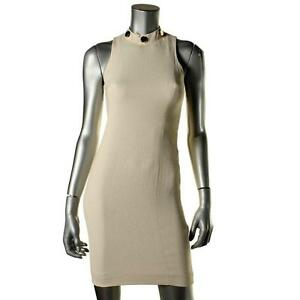 GRACE $435 Ivory Embellished Neckline STRETCH SHEATH DRESS SZ 0 NWT
