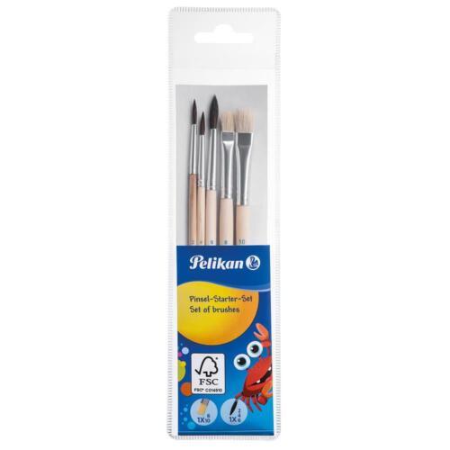Pelikan Pinsel Starterset 5 Stück Haarpinsel Borstenpinsel Schulpinsel Malpinsel