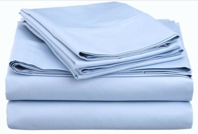Luxor Impressions 100% Egyptian Cotton Sheet 1000 TC ~ Queen Flat ~ Medium Blue