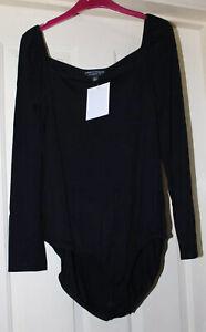 BNWT-Dorothy-Perkins-Black-Soft-Bodysuit-Size-18