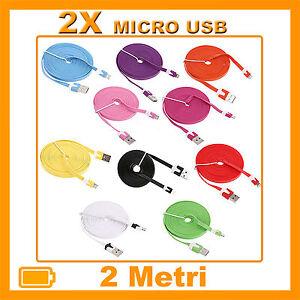 2X-Cavi-Cavetto-Dati-2-Metri-PIATTI-MICRO-USB-SAMSUNG-NEXUS-LG-HTC