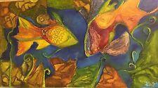 Küchel Silvia 1957 Frankfurt Fische Collage pastos,lebensbejahend 80 x 140 cm!!!