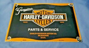 VINTAGE-HARLEY-DAVIDSON-MOTORCYCLE-PORCELAIN-BIKER-GAS-SERVICE-PUMP-PLATE-SIGN