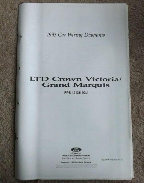 Oem 1993 Ford Ltd Crown Victoria  Grand Marquis Wiring
