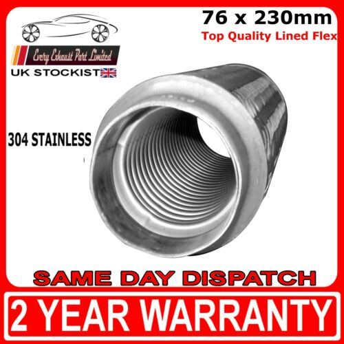 """3/"""" x 9/"""" Universal Lined Flex Flexi Joint for Exhaust Repair 76mm x 230mm"""