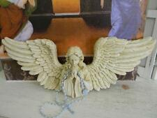 """Toscano Architectural Praying Angel Wall Sculpture w/Rosary Beads~18"""" Wing Span"""