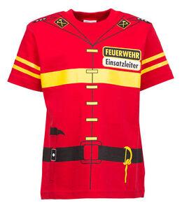 Kinder-Uniform-Kostuem-T-Shirt-Feuerwehr-92-98-bis-140-146