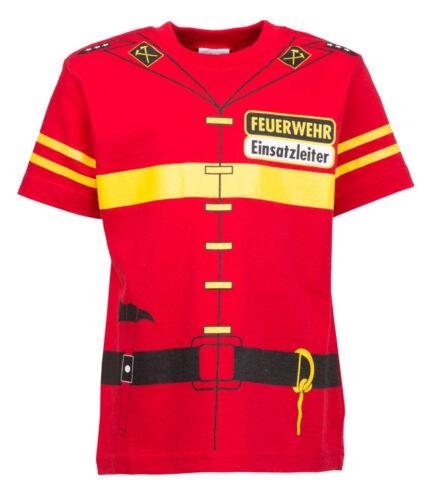 Enfants Uniforme Costume T-Shirt Pompiers 92//98 à 140//146