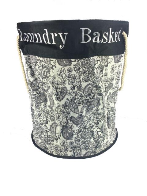 Laundry Bag Round Fabric Washing Basket Clothes Black & White 87L cheap basket