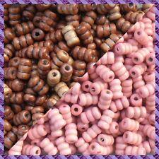100 Perles Legno Tubo 2 coloris Marrone Scurire / Rosa
