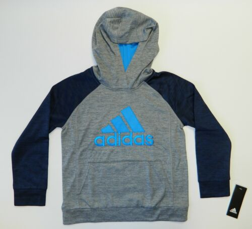Adidas Boy's Fusion Raglan Hoodie Sweater Pullover Grey Navy Blue Size 7X New