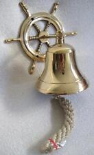 Kleine  Schiffsglocke mit Steuerrad aus Messing Gewicht 400 g
