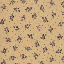 LIBERTY GATHERINGS~BY 1/2 YD ~MODA~1202-16~RED NAVY SPRIGS ON TAN~PRIMITIVE