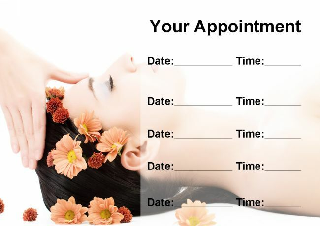 Beauty Salon Spa Treatment Massage Personalised Appointment Cards