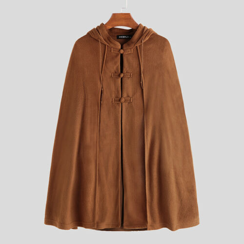 Retro Chinese Poncho Hooded Mens Causal Loose Kaftan Jackets Cape Warm Outwear