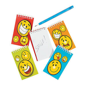 Emoji Party Mini Notepads Smiley Face Spiral Pads Pack Of 4