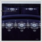 400TC 100% Cotton Navy Silver Stylish Embroidery 3pc QUEEN QUILT DOONA COVER SET