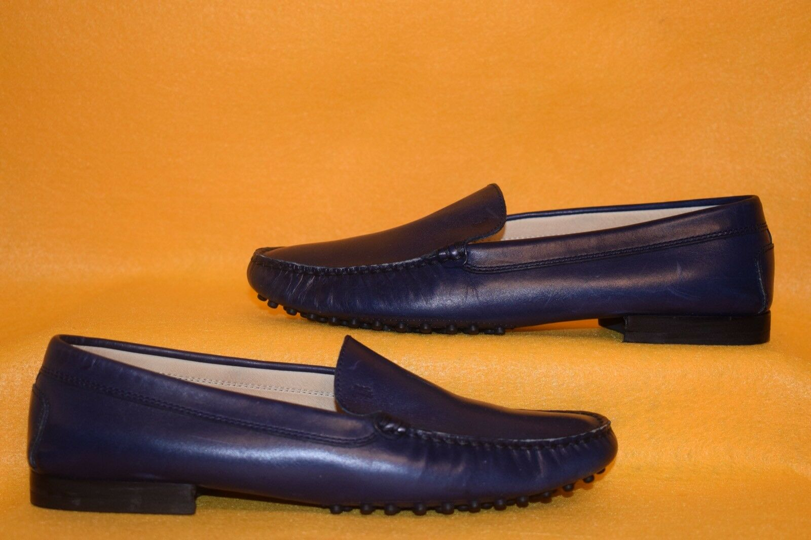 TODS Nibbed Sole Casual Dressy Loafers Blau Leather 1 4  Heel 7.5