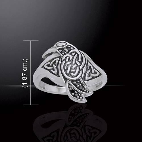 Celtic Raven Sterling Silver Ring - Meticulously Crafted
