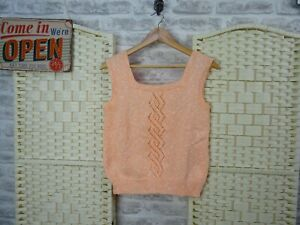 vintage hand knitted jumper top tank vest  peach retro size S/M   PB1024