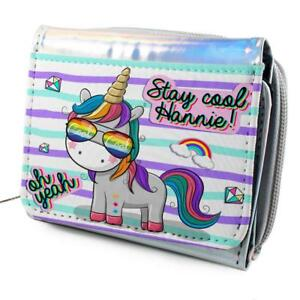Personalised Girls Purse UNICORN COOL Holographic Shiny Silver Christmas KS119