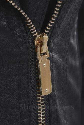 NUOVA linea donna Giacca Biker coltura in finta pelle con tacco Zip Cappotto Taglia 8 10 12 14