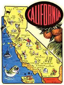 California Map Cartoon.California Cartoon Map Vintage 1950 039 S Style Travel Sticker Decal