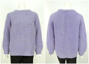 Womens-Cornish-Vintage-Fisherman-Jumper-Sweater-Chunky-Knit-Purple-Wool-Size-M
