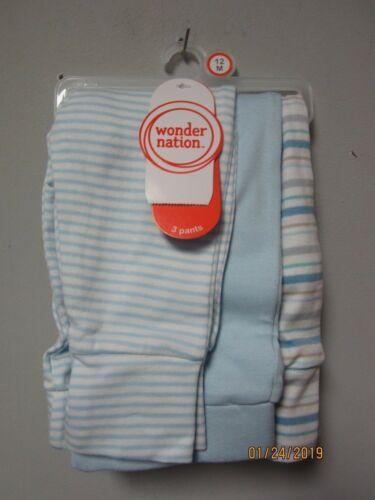 Wonder Nation Baby Boy 3-Pack Light Blue Striped Pants Size 12M